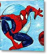Spiderman Out Of The Blue 2 Metal Print by Saundra Myles