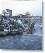 Spokane City Skyline On A Frigid Morning Metal Print by Daniel Hagerman