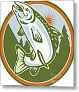 Spotted Speckled Trout Fish Jumping Metal Print by Aloysius Patrimonio