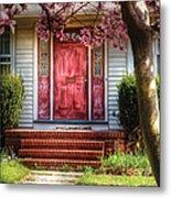Spring - Door - Westfield Nj - Pink Metal Print by Mike Savad