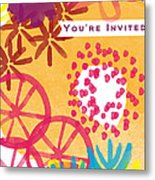 Spring Floral Invitation- Greeting Card Metal Print by Linda Woods