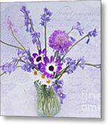 Spring Flowers In A Jam Jar Metal Print by Ann Garrett