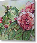 Spring Flowers Wet With Dew Drops Original Canadian Pastel Pencil Metal Print by Aeris Osborne