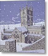 St David S Cathedral In The Snow Metal Print by Huw S Parsons