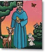 St. Francis Animal Saint Metal Print by Victoria De Almeida