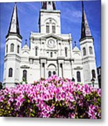St. Louis Cathedral And Flowers In New Orleans Metal Print by Paul Velgos