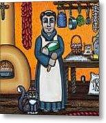 St. Pascual Making Bread Metal Print by Victoria De Almeida