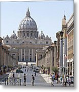 St Peter Basilica Viewed From Via Della Conciliazione. Rome Metal Print by Bernard Jaubert