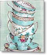 Stacked Aqua Themed Tea Cups Metal Print by Gail McCormack