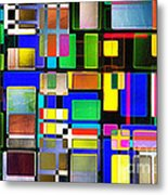 Stained Glass Window II Multi-coloured Abstract Metal Print by Natalie Kinnear