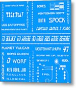 Star Trek Remembered In Blue Metal Print by Georgia Fowler