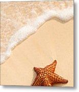 Starfish And Ocean Wave Metal Print by Elena Elisseeva