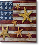 Starfish On American Flag Metal Print by Garry Gay