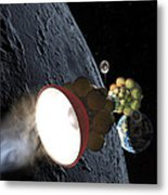 Starship Departing From Lunar Orbit Metal Print by Don Dixon