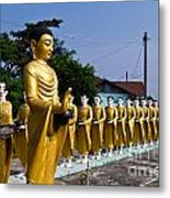 Statue Of Buddha And Disciples Are Alms Round Metal Print by Tosporn Preede