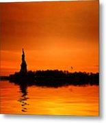 Statue Of Liberty At Sunset Metal Print by John Farnan