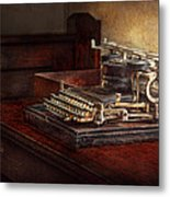 Steampunk - A Crusty Old Typewriter Metal Print by Mike Savad