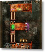 Steampunk - Alphabet - E Is For Electricity Metal Print by Mike Savad