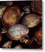 Steampunk - Clock - Time Worn Metal Print by Mike Savad