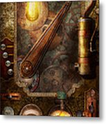 Steampunk - Victorian Fuse Box Metal Print by Mike Savad