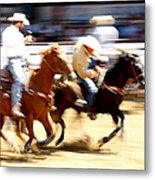 Steer Wrestling Metal Print by Bill Keiran