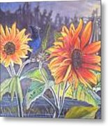 Stellar Sunflower Metal Print by Rayna DeHoog