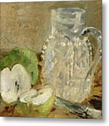 Still Life With A Cut Apple And A Pitcher Metal Print by Berthe Morisot