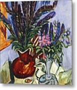 Still Life With A Vase Of Flowers Metal Print by Ernst Ludwig Kirchner