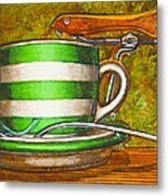 Still Life With Green Stripes And Saddle  Metal Print by Mark Howard Jones