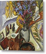 Still Life With Jug And African Bowl Metal Print by Ernst Ludwig Kirchner