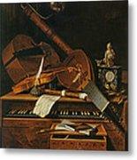 Still Life With Musical Instruments Metal Print by Pieter Gerritsz van Roestraten