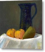 Still Life With Pitcher And Fruit Metal Print by Sandy Linden
