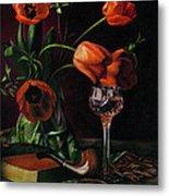 Still Life With Tulips - Drawing Metal Print by Natasha Denger