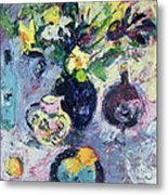 Still Life With Turquoise Bottle Metal Print by Sylvia Paul