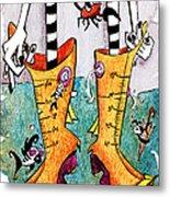 Stivali Acqua Alta - Children Book Illustration - Venezia Metal Print by Arte Venezia