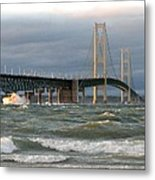Stormy Straits Of Mackinac Metal Print by Keith Stokes