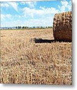 Straw Bales At A Stubbel Field Metal Print by Svetoslav Radkov