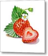 Strawberry Heart Metal Print by Irina Sztukowski