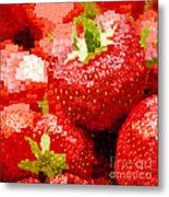 Strawberry Mosaic Metal Print by Anne Gilbert