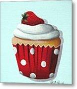 Strawberry Shortcake Cupcake Metal Print by Catherine Holman