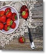 Strawberry Vintage Metal Print by Jane Rix