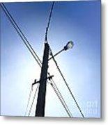 Street Lamp And Power Lines Metal Print by Bernard Jaubert