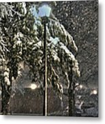 Street Lamp In The Snow Metal Print by Benanne Stiens