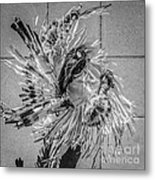 Street Shadow Dancer 1 - Black And White - Square Crop Metal Print by Ian Monk