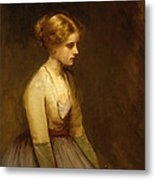 Study Of A Fair Haired Beauty  Metal Print by Jean Jacques Henner