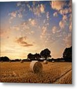 Stunning Summer Landscape Of Hay Bales In Field At Sunset Metal Print by Matthew Gibson