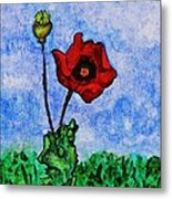 Summer Day Poppy Metal Print by Sarah Loft
