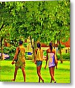 Summertime Walk Through The Beautiful Tree Lined Park Montreal Street Scene Art By Carole Spandau Metal Print by Carole Spandau