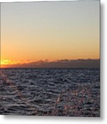 Sun Rising Through Clouds In Rough Waters Metal Print by John Telfer
