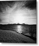 sun setting with halo over snow covered telegrafbukta beach Tromso troms Norway europe Metal Print by Joe Fox